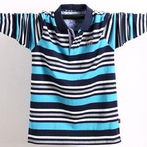 Image 3 - 남자 긴 소매 폴로 셔츠 큰 크기 스트라이프 스탠드 칼라 코 튼 폴로 셔츠 캐주얼 망 옷깃 탑 셔츠 수 놓은 티 5XL