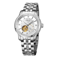 TOP BRAND MIGE Round Mechanical AUTO Date Business Stainless Steel Band BLACK White GLODEN Water
