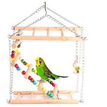 Bird toy Small Medium Size Parrot Toy Pet Swing Hanging Ladder Climbing toys Double-layer Staircase Gray fun Toys