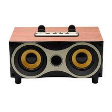 سطح المكتب المحمولة خشبية مكبر الصوت اللاسلكي مضخم صوت ستيريو مكبرات صوت بخاصية البلوتوث دعم TF مشغل MP3 مع راديو FM ، حامل هاتف