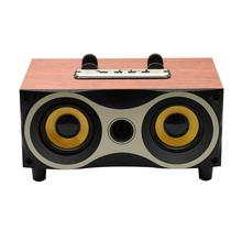 Desktop Portable Wooden Wireless Speaker Subwoofer Stereo Bluetooth Speakers Support TF MP3 Player with FM Radio, Phone Holder