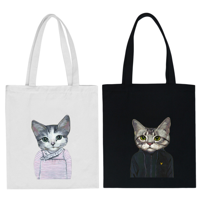 Funny Cat Canvas Bags Women Handbag One Shoulder College Students Portable Eco-friendly Handbags Children Book School Bag