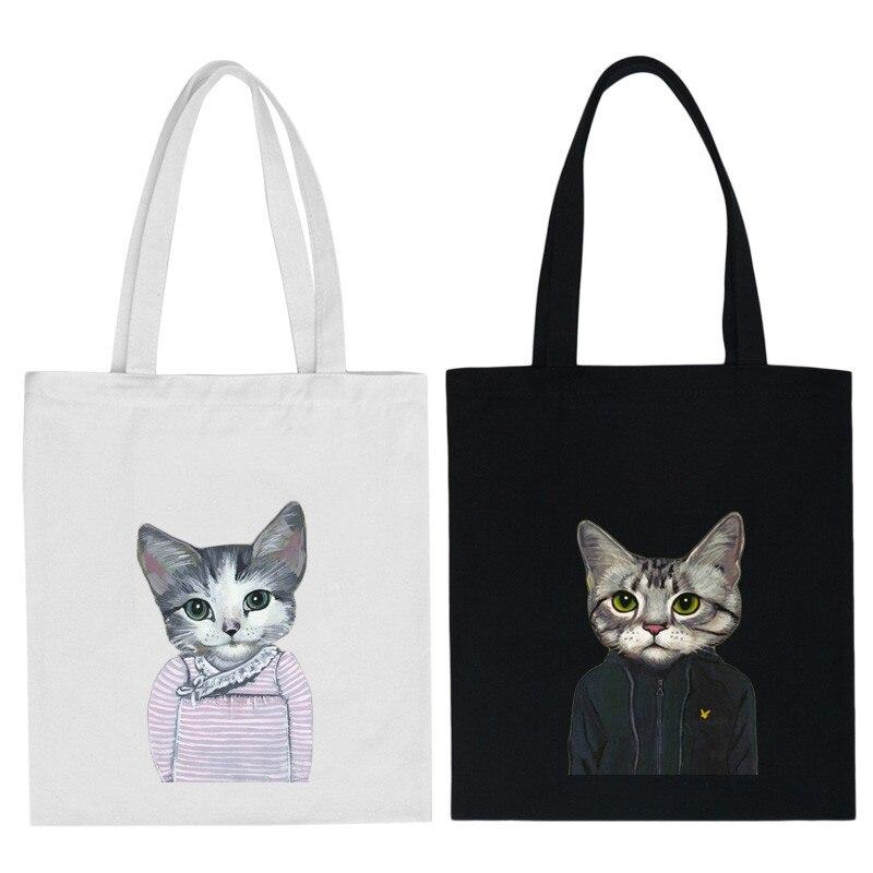 engraçado gato sacolas de lona Dureza : Suave