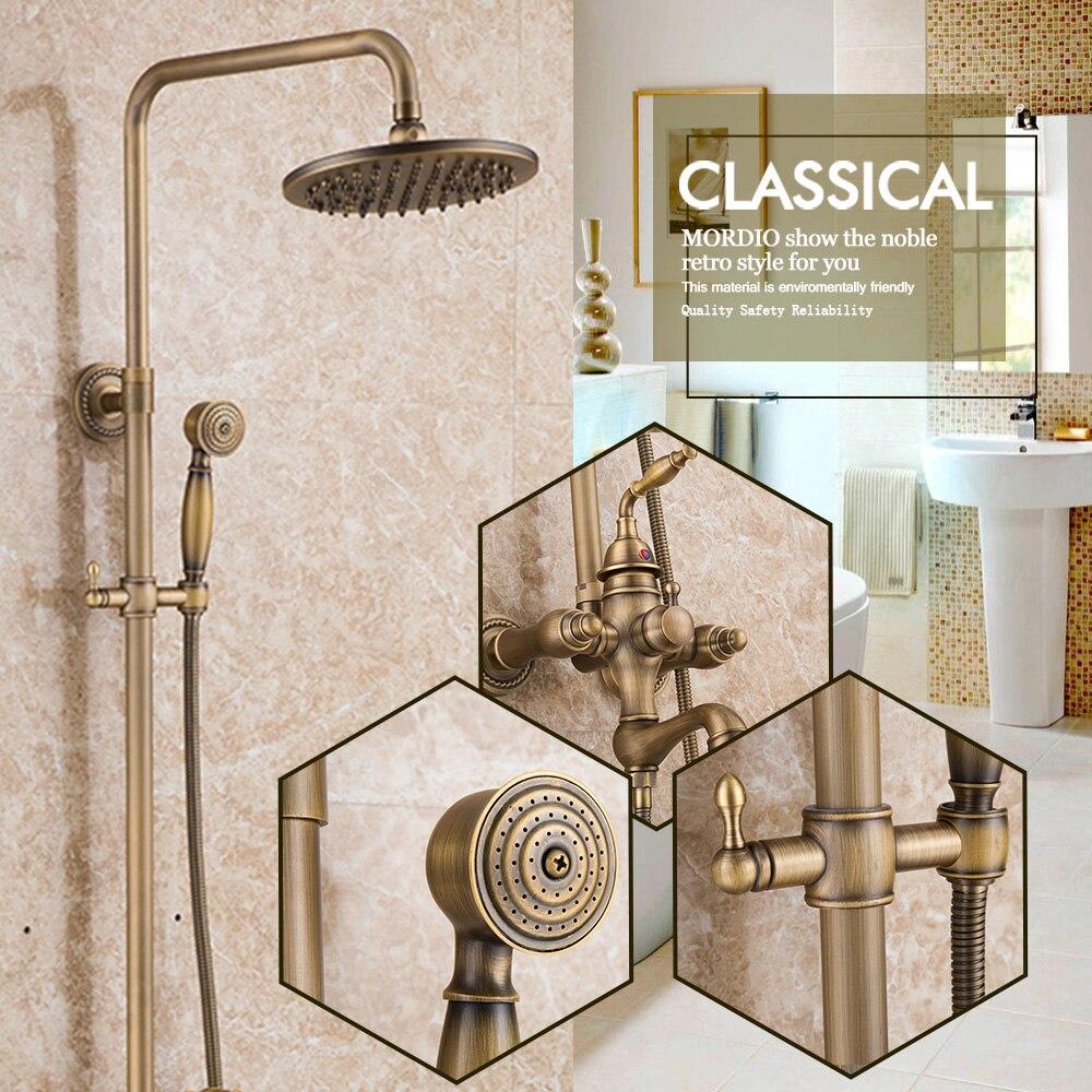 antique solid brass bath tub mixer taps shower faucet bathroom system set faucet ceramic valve bronze lavatory plumbing fixture