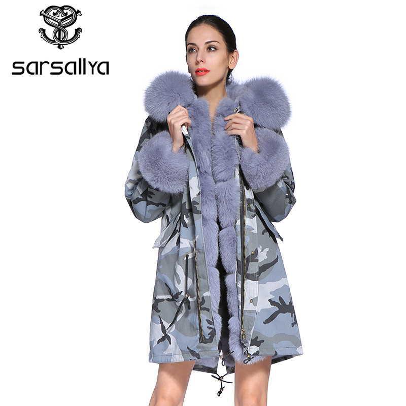 SARSALLYA 2016 nouvelle longue Camouflage d'hiver veste femmes outwear épais parkas naturel réel fox col de fourrure manteau à capuchon
