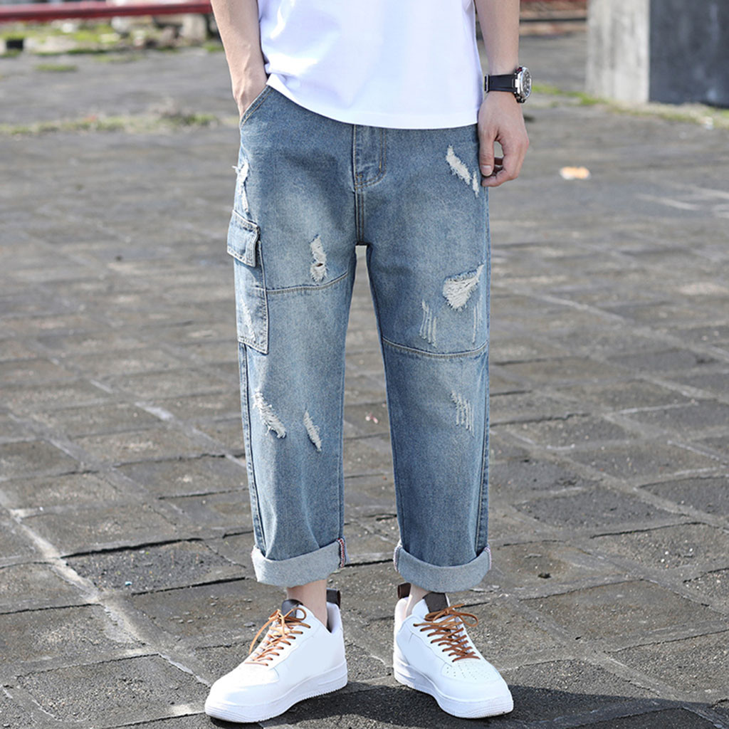 Men's Jeans Long Pants 2019 New Fashion Summer Autumn Casual Fold Straight Loose Hole Streetwear Trousers Pants MenJeans Hombre(China)