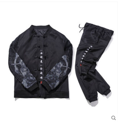 Chinese style autumn mens  suit retro printing embroidery large size plate buckle Hanfu jacket two-pieceChinese style autumn mens  suit retro printing embroidery large size plate buckle Hanfu jacket two-piece
