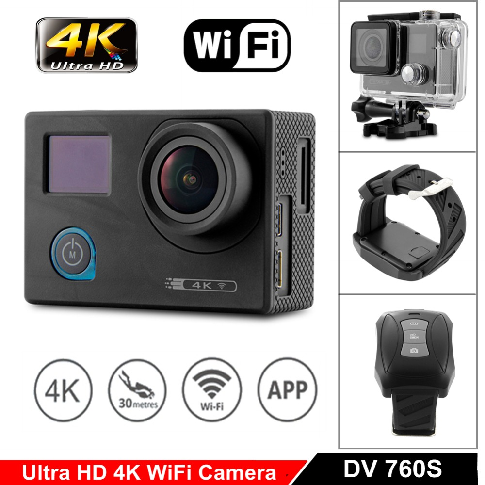 4K Ultra HD WiFi Action Video Camera Night Vision UHD 24fps Waterproof Sport Helmet Cam 170 Degree Wide Angle Go Extreme Pro 2 2017 arrival original eken action camera h9 h9r 4k sport camera with remote hd wifi 1080p 30fps go waterproof pro actoin cam
