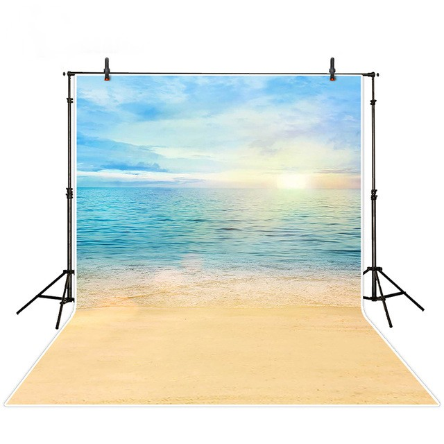 Blue Sunshine Beach Sky Clouds Sea backdrops polyester or Vinyl cloth High quality Computer print wedding background