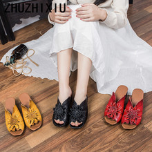 ZHUZHIXIU-Free shipping,2018 spring and summer new style women's genuine leather slippers,handmade leisure slippers,3 colors