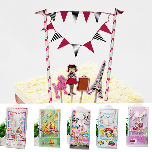 1set Happy Birthday Cake Flags Flower Buterfly Balloons Gift Cake