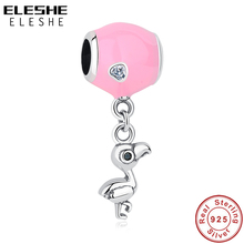 ELESHE Fits Original Charms Bracelets 925 Sterling Silver Flamingo Bird Beads Pave CZ Pink Enamel Pendant Charms Jewelry Making
