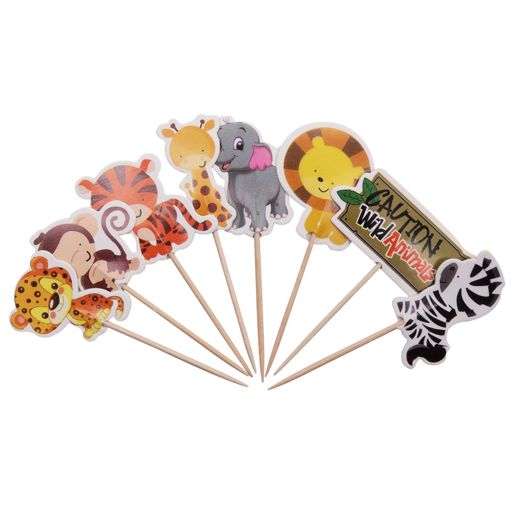 24pcs Animal Cake Toppers Jungle Safari Party Cupcake Decoration Pastel Cloth Diapers Party Gifts for Kids Birthday Decoration