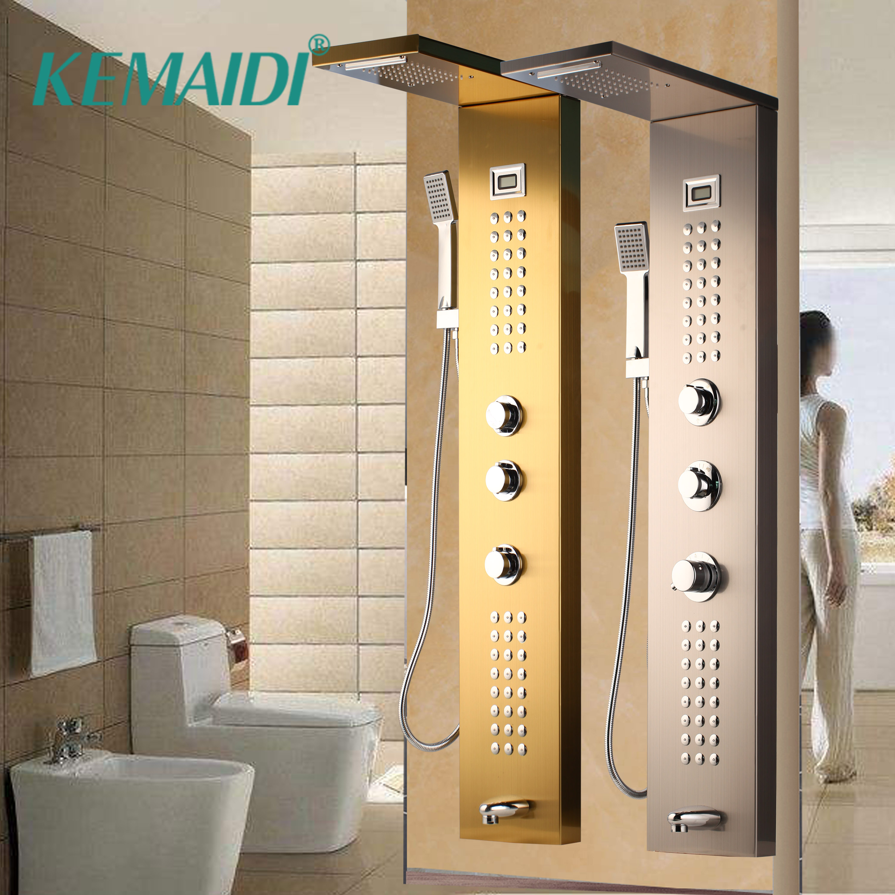 KEMAIDI Waterfall Massage Jets Rain Shower Column Thermostatic Mixer Shower Faucet Tower W/Hand Shower Tub Spout Shower PanelKEMAIDI Waterfall Massage Jets Rain Shower Column Thermostatic Mixer Shower Faucet Tower W/Hand Shower Tub Spout Shower Panel