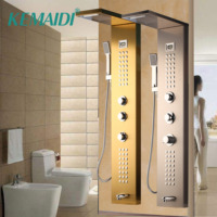 KEMAIDI Waterfall Massage Jets Rain Shower Column Thermostatic Mixer Shower Faucet Tower W/Hand Shower Tub Spout Shower Panel