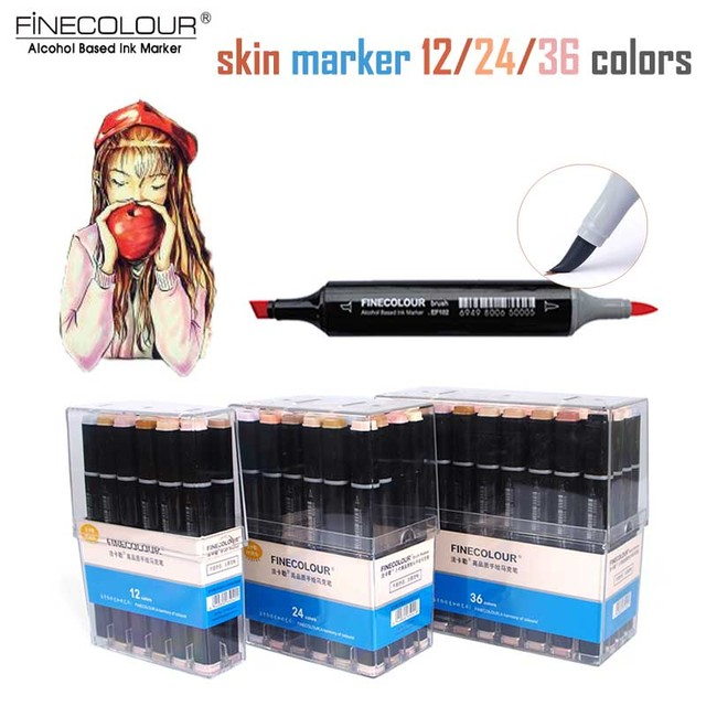 Finecolour Skin Tone Brush Sketch Marker EF102 Soft Felt Pens Drawing Comic Manga 12/24/36 Dual Alcohol Art Markers Calligraphy