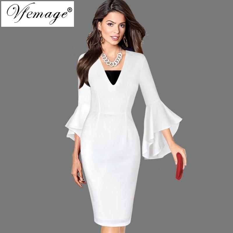 Aliexpress Com Buy Elegant Flare Sleeve Wedding Dress: Aliexpress.com : Buy Vfemage Womens Sexy Deep V Neck Flare
