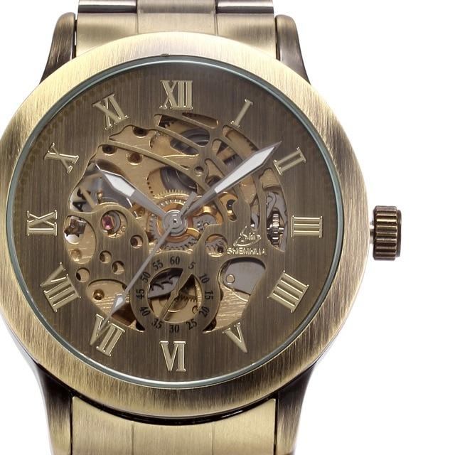240bb7fc623 SHENHUA Clássico Bronze Skeleton Relógios Banda de Aço Inoxidável Relógio  de Pulso Homem Relógio Mecânico Automático