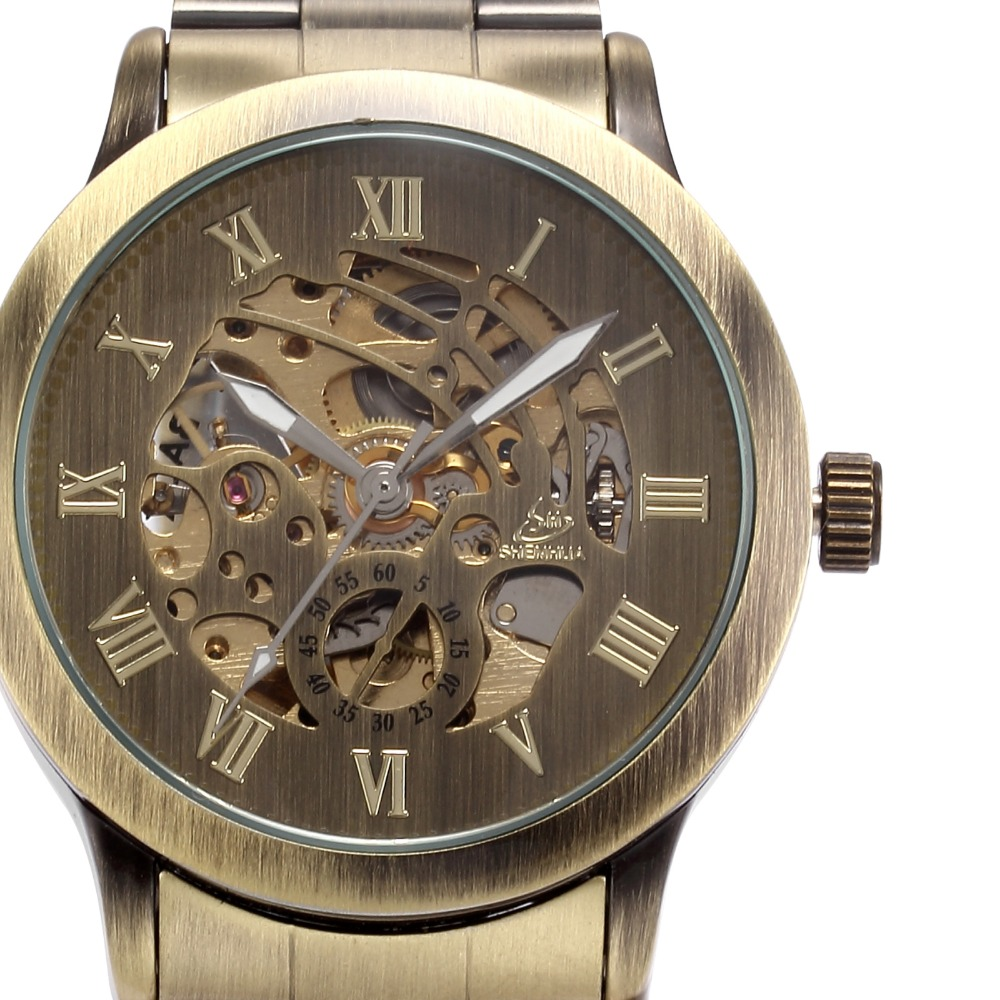 SHENHUA Classic Bronze Skeleton Watches Stainless Steel Band Wrist Watch Man Automatic Mechanical Male Clock Relogios