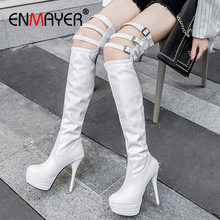 ENMAYER Round Toe Super High Slip-On Over-the-Knee Fur Boots Thin Heels Solid Short Plush Buckle Womens White Shoes Woman