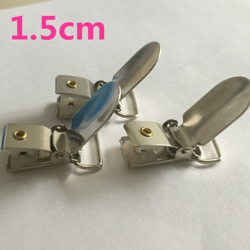 NEW 1 5cm 100 pcs lot Silver Tone Metal Oval Baby Pacifier Clip Suspender Metal Paci