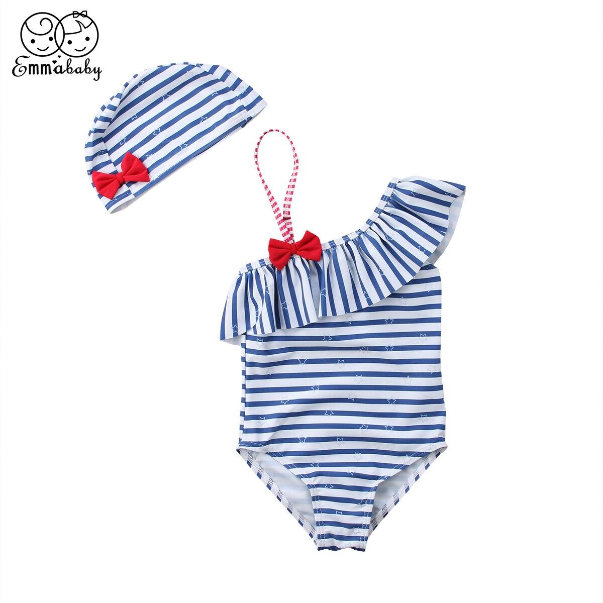 Emmababy Baby Kids Girls Cute Beach Swimwear Swimsuit Swimming Costume+Hat Set3-7T