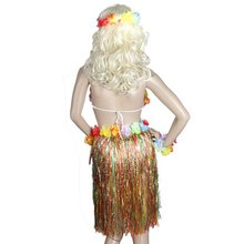 Colorful Hawaiian Tropical Theme Party Hula Luau Grass Dancer Dress and Bra Set