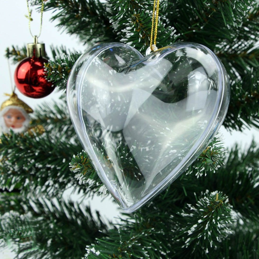 20PCS Clear Plastic Acrylic Heart Shape Fillable Christmas Tree Ornaments DIY Bath Bomb  ...
