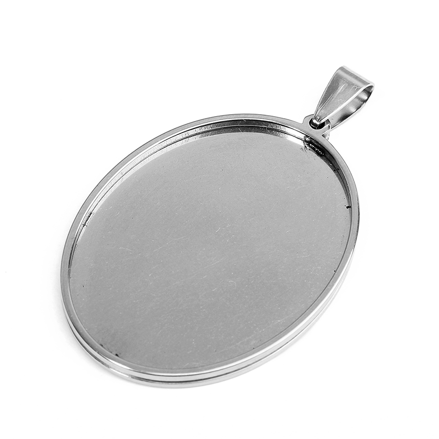18*25//30*40mm Oval Stainless Steel Pendant Charm Blank Trays Cabochon Bases 5pcs