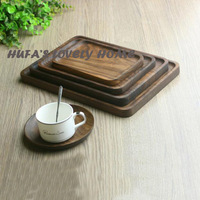 High Quality Black Walnut Rectangle Plates Wooden Tableware Handmade Sushi fruit dessert Western pallets For Daily Uses Or Gift