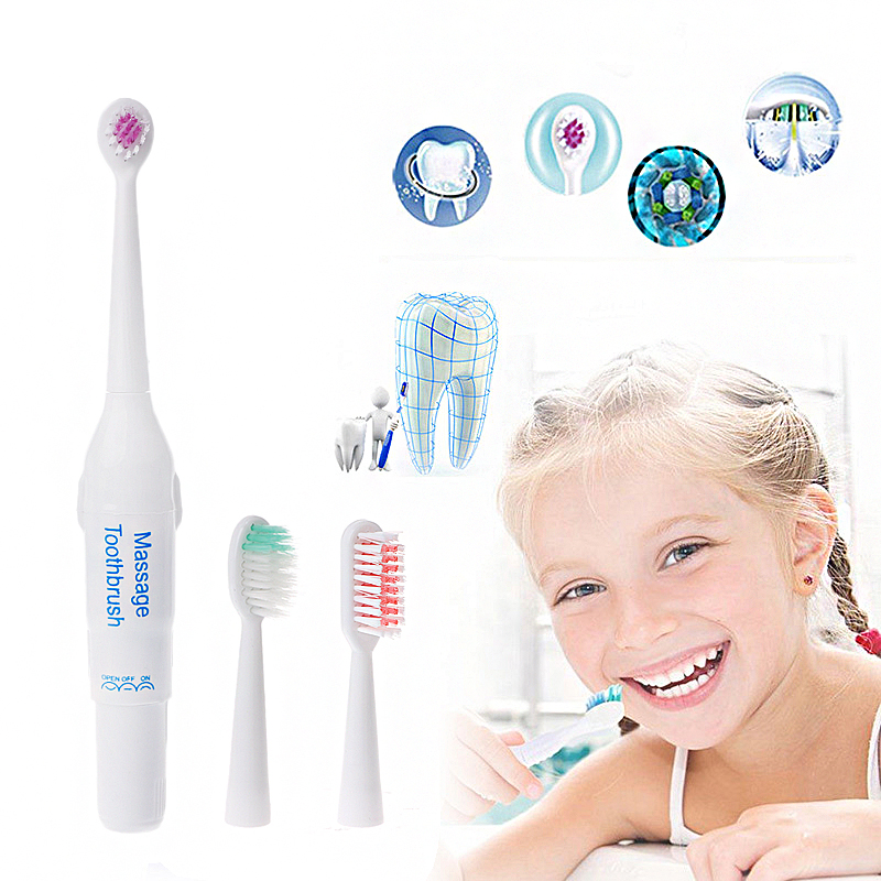 Adult Toothbrush Electric Toothbrush Massager + 3 Brush Heads