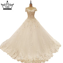 Sexy Off Shoulder Sequins Lace Ball Gown Wedding Dresses with Bow Lace Up Bridal Gown Dubai Luxury Robe De Noiva Real Picture