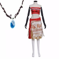 Cosplay Moana Princess Costume Dress With Necklace Halloween Cosplay Costume