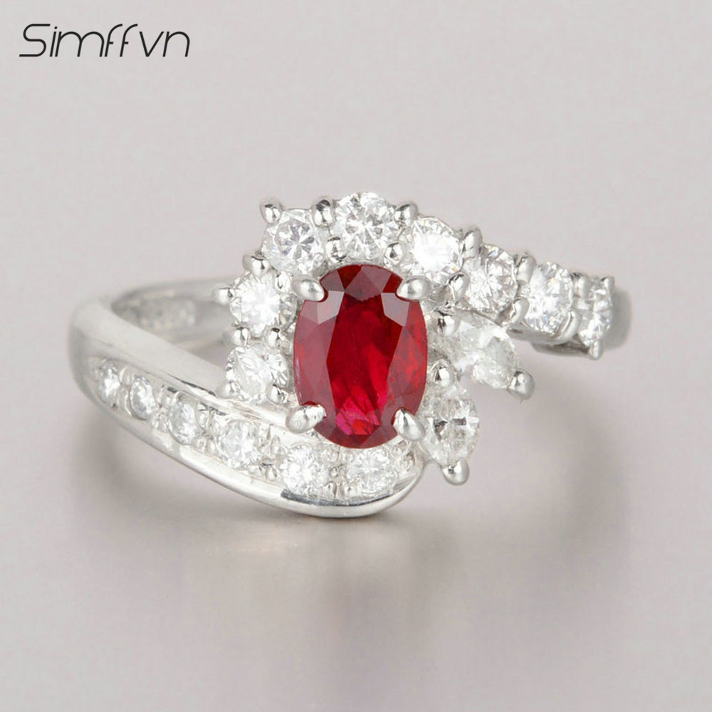 Luxurious Style 0.71Ct Ruby Gemstone Ring With Client Stated Natural Diamond Stamped By Pt900 Platinum Engagement Ring For Women