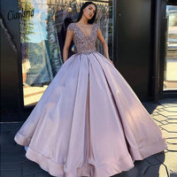 Lilac Ball Gown Quinceanera Dresses Elegant Long Prom Gowns Formal Party Dress Zip Back Vestidos de fiesta Sexy V Neck Gowns
