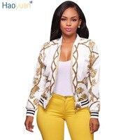 HAOYUAN Autumn Jacket Women Coat 2017 Fashion Print Bomber Jacket Full Sleeve Zipper Casual Women S