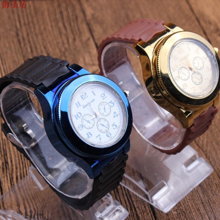 Silicone Strap USB Charging Sport Clock Lighter Army Wristwatches Windproof Flameless Cigarette Lighter Men Quartz Watch