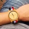 2017 Nova Chegada Relógio Das Mulheres Dos Homens Designer de Nylon banda Relógios de Luxo de Moda de Madeira de Bambu De Madeira Veados Relógio como presente