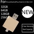 1 Year Warranty+Real Capacity For Iphone 6s/6/5/Ipad/Ipod, 32GB 64GB 128GB 256GB OTG USB Flash Drive Pendrive Flash Memory Card