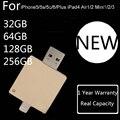 1 ano de garantia + real capacidade para iphone 6 s/6/5/ipad/ipod, 32 GB 64 GB 128 GB 256 GB OTG USB Flash Drive Cartão de Memória Flash Pendrive