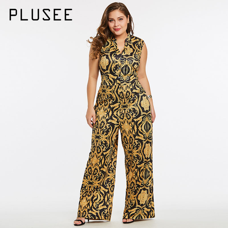 Plusee Jumpsuit Plus Size 4XL 5XL Women 2017 Golden Slim Wide Legs Geometric Color Block Button Pocket Print Plus Size Jumpsuit