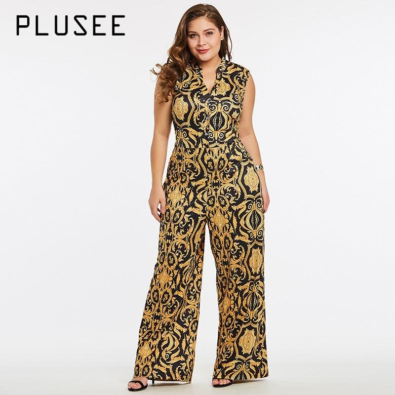 Plusee Jumpsuit Plus Size 4XL 5XL Women 2017 Golden Slim Wide Legs Geometric Color Block Button Pocket Print Plus Size Jumpsuit