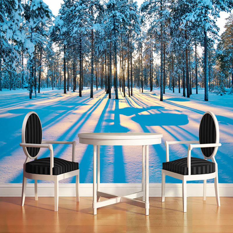 Photo Wallpaper Modern Fashion Snow Landscape Forest Sunrise 3D Wall Mural Living Room Bedroom Backdrop Wall Home Decor Frescoes  free shipping pine forest 3d landscape background wall living room bathroom bedroom home decoration wallpaper mural