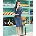 Denim Dress Woman 2016 New Autumn Winter Dress And Long Sections Long Sleeve Was Thin Denim Slim Vestido Plus Size LUCKY