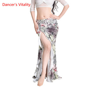 Image 2 - New Practice Belly Dance Costume Milk Silk flower elegant Long Skirts