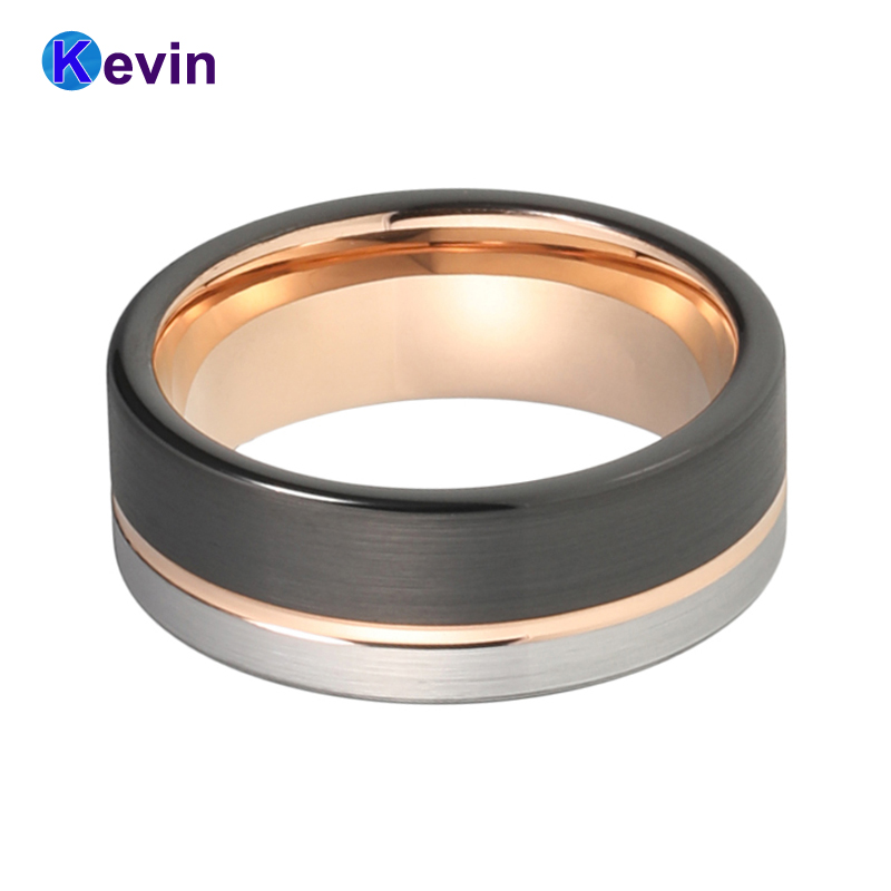 8MM Men Women Wedding Band Tungsten Ring Black Rose Gold Color With Offset Grooved Brushed Comfort Fit