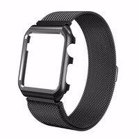 2in1 Inoxydable Bracelet En Acier Pour Apple Montre Bande Milanese magnétique avec Cas Protéger Pour iwatch Bracelet 38mm 42mm série 1 2