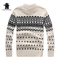 2016 New men's Sweater High Quality Fashion Jacquard Round Neck Thick Knit Woollen Sweater For Men Sweater 4 Colours CB12E7703