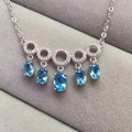 Natural blue topaz stone Necklace natural gemstone Pendant Necklace S925 silver Fashion  Elegant water drop Circle women Jewelry