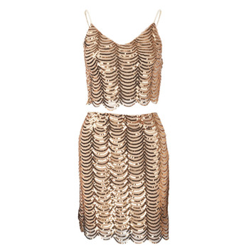 Gold Sequin Two Piece Mini Dress